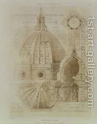 Plan Section and Elevation of Florence Cathedral from Fragments dArchitecture du Moyen Age et de la Renaissance by (after) Duquesne, Eugene - Reproduction Oil Painting