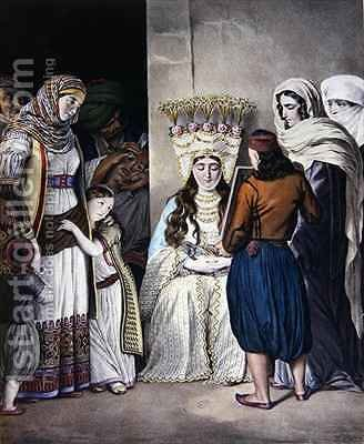 Greek Orthodox Wedding in Athens by (after) Dupre - Reproduction Oil Painting