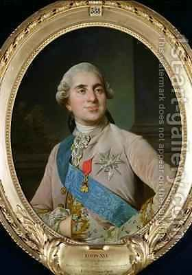 Portrait medallion of Louis XVI 1754-93 by (after) Duplessis, Joseph-Siffrede - Reproduction Oil Painting