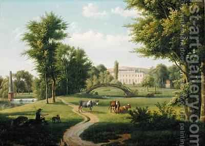 View of the Chateau de Villiers Saint Paul near Senlis by Alexandre-Hyacinthe Dunouy - Reproduction Oil Painting