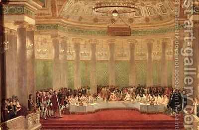 The Banquet for the Marriage of Napoleon Bonaparte 1769-1821 and Marie Louise de Habsbourg Lorraine 1791-1847 by Alexandre (Casanova) Dufay - Reproduction Oil Painting