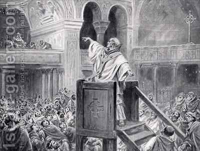 John Chrysostom Preaching in Constantinople by Ambrose Dudley - Reproduction Oil Painting