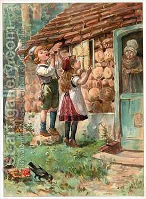 Hansel and Gretel by Ambrose Dudley - Reproduction Oil Painting