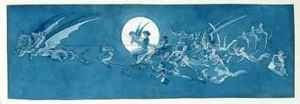 Famous paintings of Fairies: The dragon chariot and fairy minstrels cross the moon