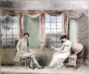 Isabella Downman reproductions - A Woman and her Beau Spinning Thread