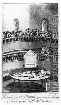 The Body of a Murderer Exposed in the Theatre of the Surgeons Hall Old Bailey London by (after) Dodd, Daniel - Reproduction Oil Painting
