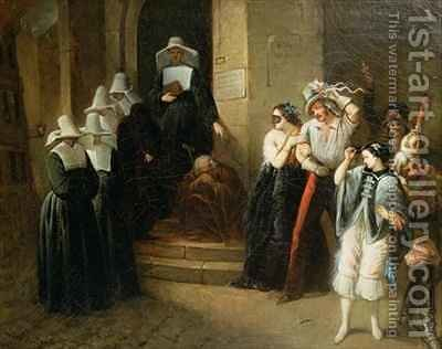 The Masked Ball by Henri Victor Deveria - Reproduction Oil Painting