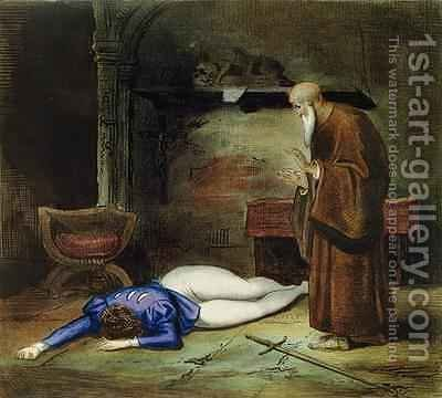 The Death of Romeo by Achille and Boulanger, Louis Deveria - Reproduction Oil Painting