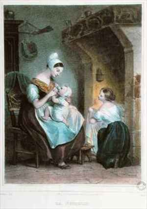 Achille-Jacques-Jean-Marie Deveria reproductions - The Wetnurse