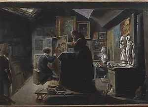 Achille-Jacques-Jean-Marie Deveria reproductions - In the Artists Studio