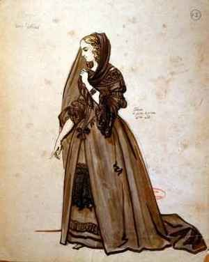 Reproduction oil paintings - Achille-Jacques-Jean-Marie Deveria - Costume design for the role of Dona Elvire in an 1847 production of Don Juan