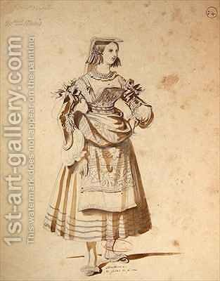 Costume design for Mathurine in an 1847 production of Don Juan by Achille-Jacques-Jean-Marie Deveria - Reproduction Oil Painting