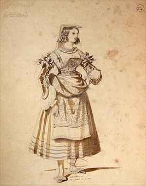 Reproduction oil paintings - Achille-Jacques-Jean-Marie Deveria - Costume design for Mathurine in an 1847 production of Don Juan