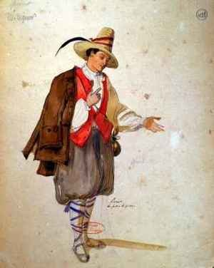 Costume design for the role of Pierrot in an 1847 production of Don Juan