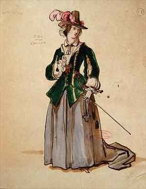 Reproduction oil paintings - Achille-Jacques-Jean-Marie Deveria - Costume design for Dona Elvire in an 1847 production of Don Juan