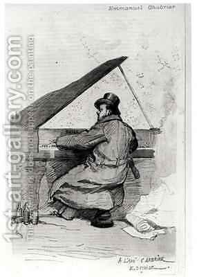 Alexis Emmanuel Chabrier 1841-94 at the piano by (after) Detaille, Jean-Baptiste Edouard - Reproduction Oil Painting
