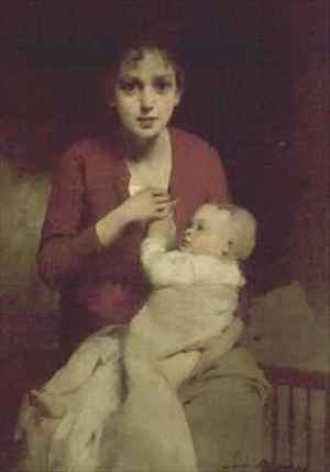 Louis Henri Deschamps reproductions - Mother and child