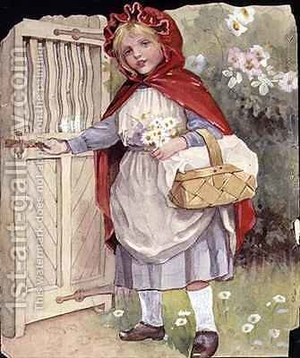 Little Red Riding Hood at the Garden Gate by Ada Dennis - Reproduction Oil Painting
