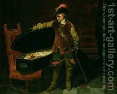 Oliver Cromwell 1599-1658 with the Coffin of Charles I 1600-49 by Hippolyte (Paul) Delaroche - Reproduction Oil Painting