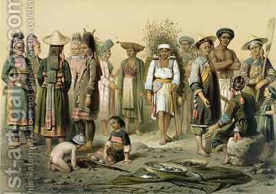 Mixed Populations from South of Yunnan China by (after) Delaporte, Louis - Reproduction Oil Painting