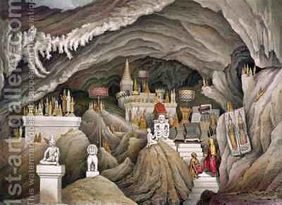 Interior of the grotto of Nam Hou Laos by (after) Delaporte, Louis - Reproduction Oil Painting