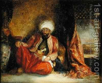 A Turk Smoking a Pipe by Henri Decaisne - Reproduction Oil Painting