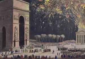 Famous paintings of Fireworks: View of the Arc de Triomphe with Fireworks