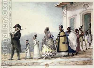 A Government Employee Leaving Home with his Family and Servants by (after) Debret, Jean Baptiste - Reproduction Oil Painting