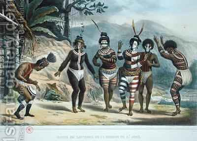 Indians dancing at the San Jose Mission by (after) Debret, Jean Baptiste - Reproduction Oil Painting