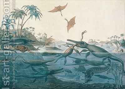 Duria antiquior Ancient Dorset depicting a imaginative reconstruction of the life of the Jurassic seas by (after) De La Beche, Henry Thomas - Reproduction Oil Painting