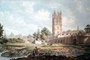 Famous Paintings in Ashmolean Museum, Oxford, UK: Magdalen College and Bridge Oxford from the River
