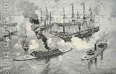 Surrender of the Confederate Ironclad Tennesee at the Battle of Mobile Bay by (after) Davidson, Julian Oliver - Reproduction Oil Painting