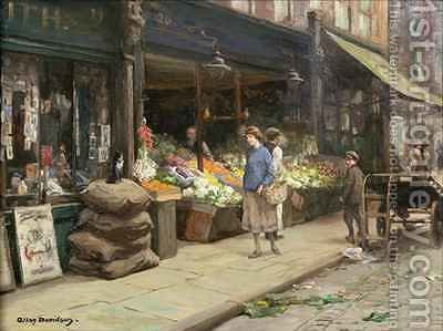 A London Street Market by Allan Douglas Davidson - Reproduction Oil Painting