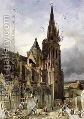 Restoring the Abbey Church of St Denis in 1833 by Adrien Dauzats - Reproduction Oil Painting