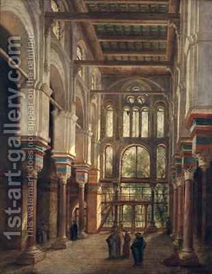 Interior of the Mosque of El Mooristan in Cairo by Adrien Dauzats - Reproduction Oil Painting