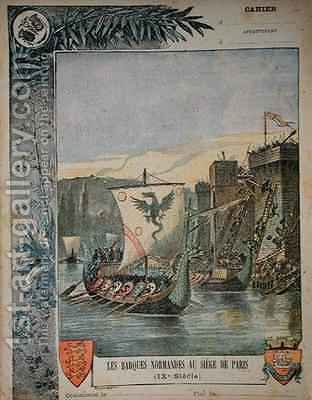 Norse boats besieging Paris by (after) Dascher, G. - Reproduction Oil Painting