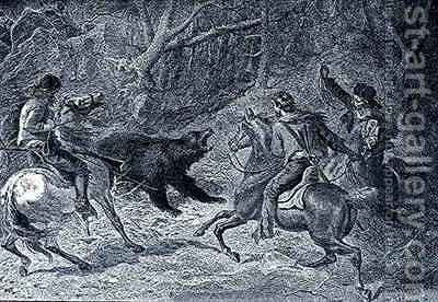 Roping a Grizzly by (after) Darley, Felix Octavius Carr - Reproduction Oil Painting