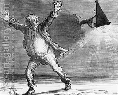Series Actualites the comet Monsieur Babinet decides to personally shut down the sun in order to fulfil his predictions by Honoré Daumier - Reproduction Oil Painting
