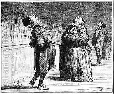 Series Actualites Parisians waiting for the arrival of the famous comet by Honoré Daumier - Reproduction Oil Painting