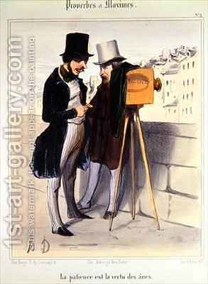 Cartoon ridiculing the length of time necessary to take a daguerrotype photo by Honoré Daumier - Reproduction Oil Painting