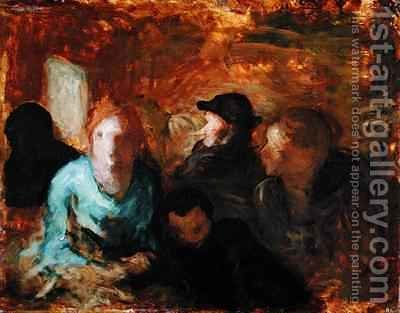 A Third Class Carriage by Honoré Daumier - Reproduction Oil Painting