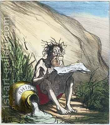 Diogenes reading a newspaper by Honoré Daumier - Reproduction Oil Painting