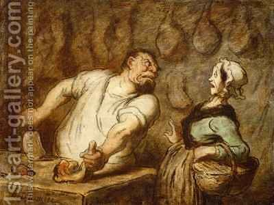 The Butcher Montmartre Market by Honoré Daumier - Reproduction Oil Painting