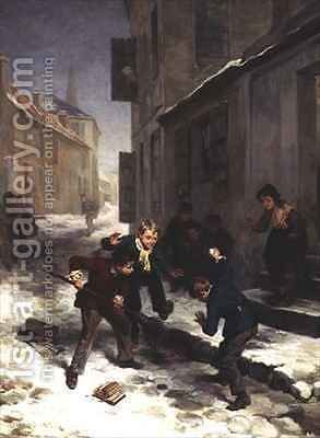 Children Chasing a Rat by Andre Henri Dargelas - Reproduction Oil Painting