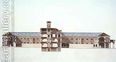 Cross Section of the New Prison in Brussels by (after) Damesme, Louis - Reproduction Oil Painting