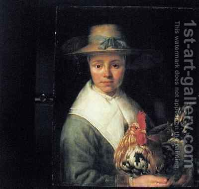 Girl with a Rooster by Jacob Gerritsz. Cuyp - Reproduction Oil Painting