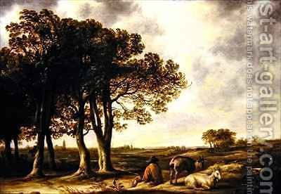 Goatherd in lanscape a distant view of Amsterdam by Aelbert Cuyp - Reproduction Oil Painting