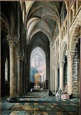 Interior of a Church by Hippolyte Joseph Cuvelier - Reproduction Oil Painting