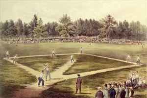 Neo-Classical painting reproductions: The American National Game of Baseball  Grand Match at Elysian Fields Hoboken NJ