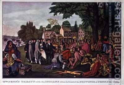 William Penns Treaty with the Indians when he founded the Province of Pennsylvania by (after) Currier, N. - Reproduction Oil Painting